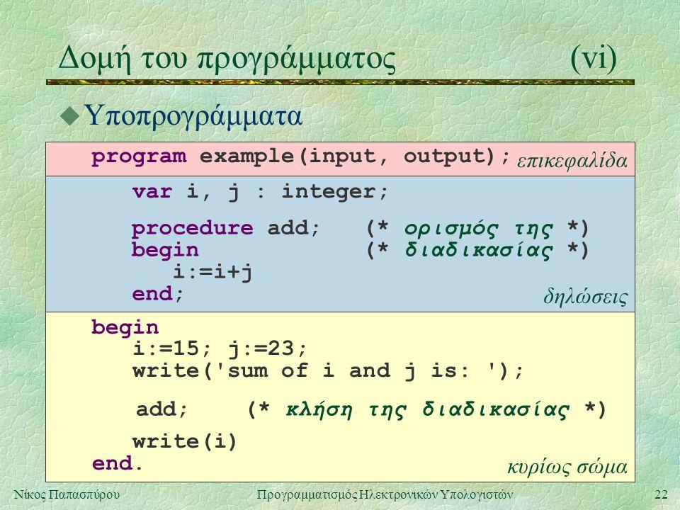 Δομή του προγράμματος (vi)
