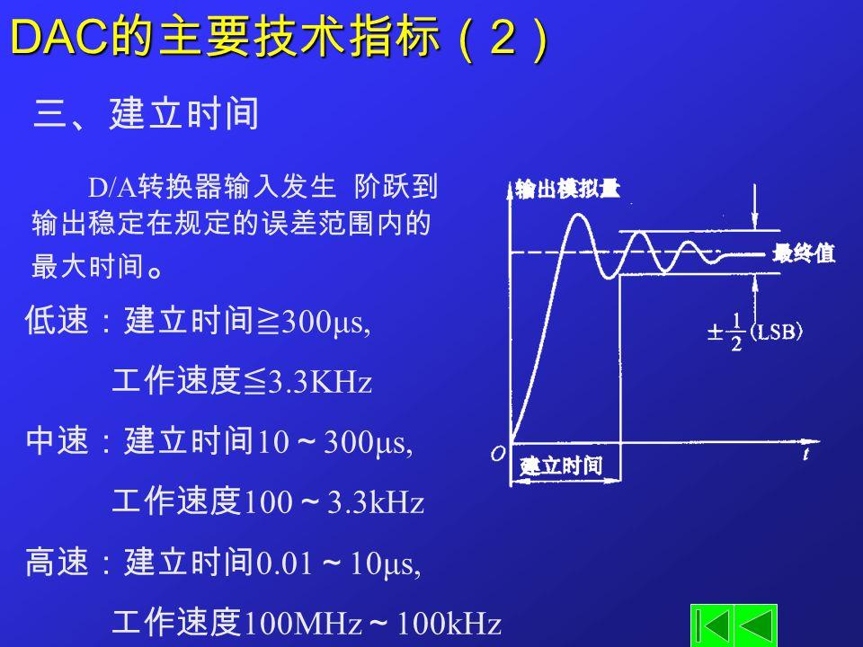 DAC的主要技术指标(2) 三、建立时间 D/A转换器输入发生 阶跃到 输出稳定在规定的误差范围内的最大时间。 低速:建立时间≧300μs,