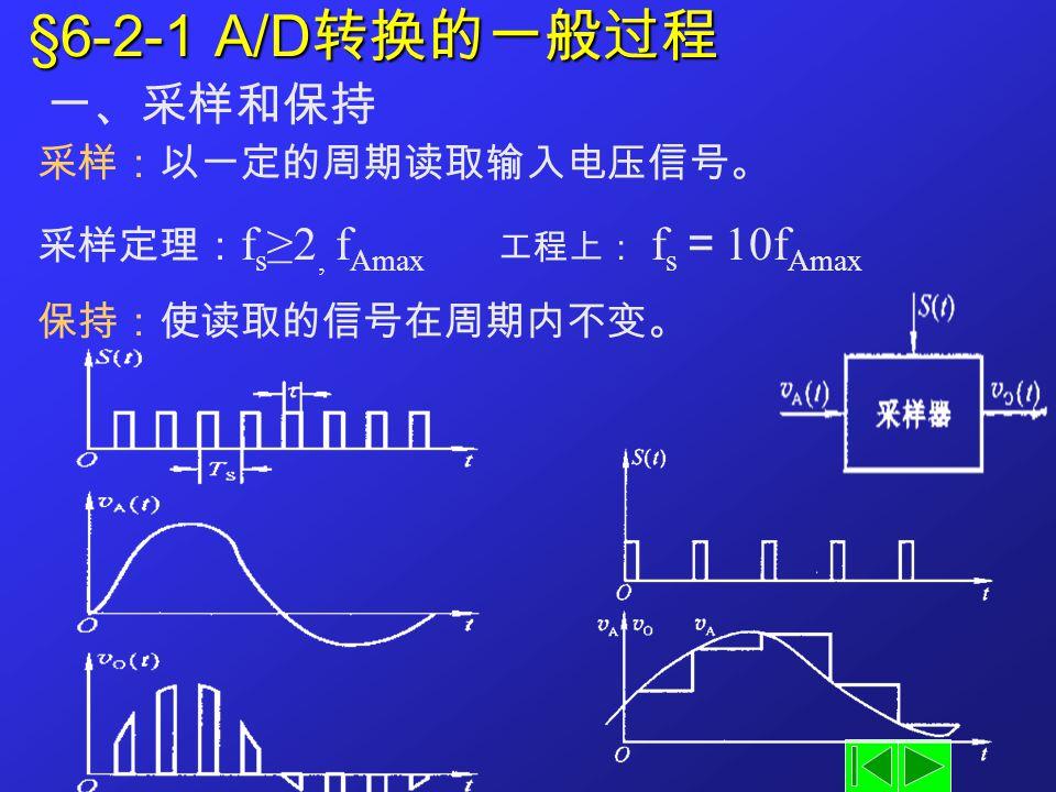 §6-2-1 A/D转换的一般过程 一、采样和保持 采样:以一定的周期读取输入电压信号。