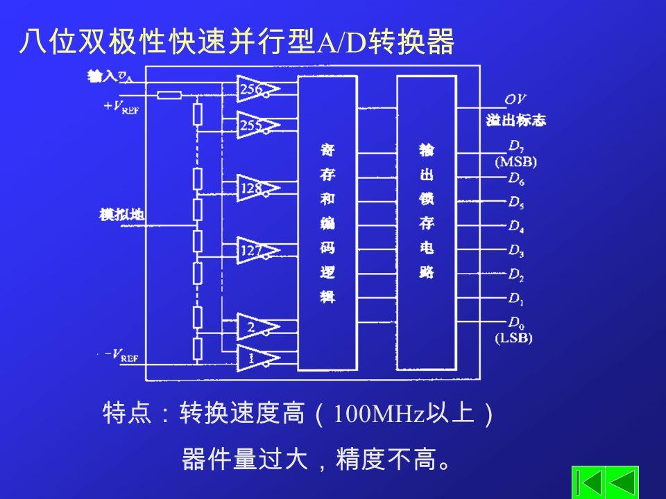 八位双极性快速并行型A/D转换器 特点:转换速度高(100MHz以上) 器件量过大,精度不高。