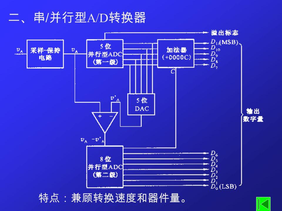 二、串/并行型A/D转换器 特点:兼顾转换速度和器件量。