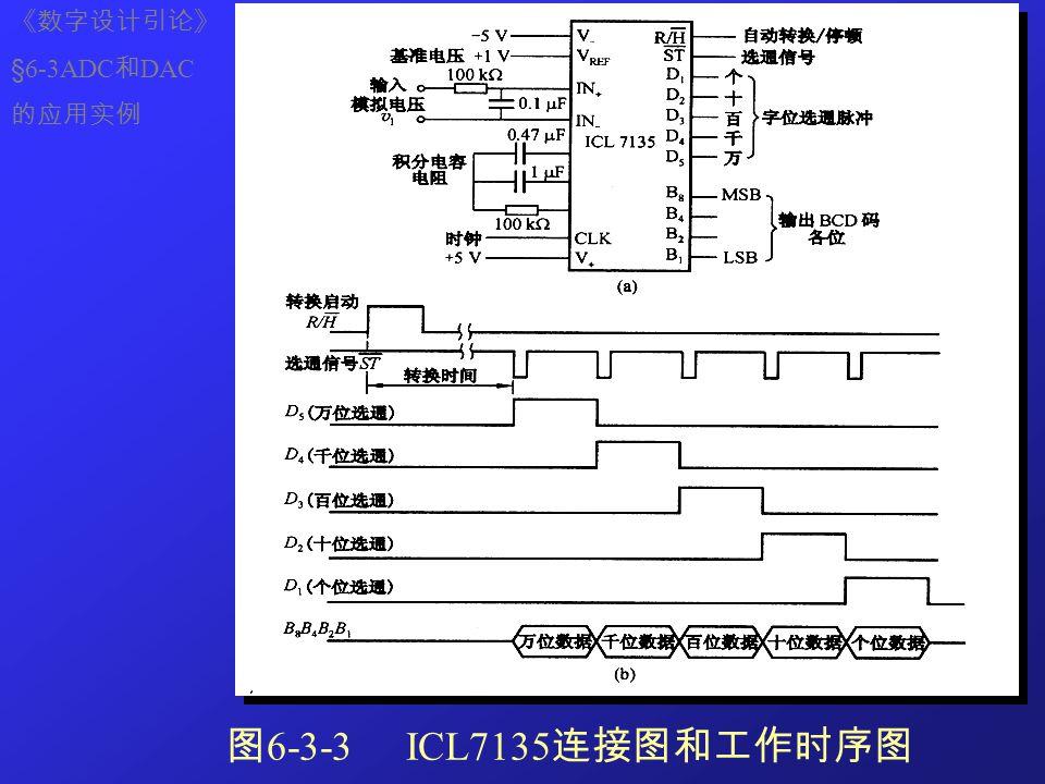 《数字设计引论》 §6-3ADC和DAC 的应用实例 图6-3-3 ICL7135连接图和工作时序图