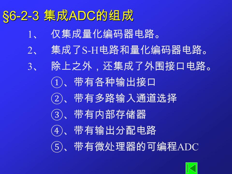 §6-2-3 集成ADC的组成 1、 仅集成量化编码器电路。 2、 集成了S-H电路和量化编码器电路。