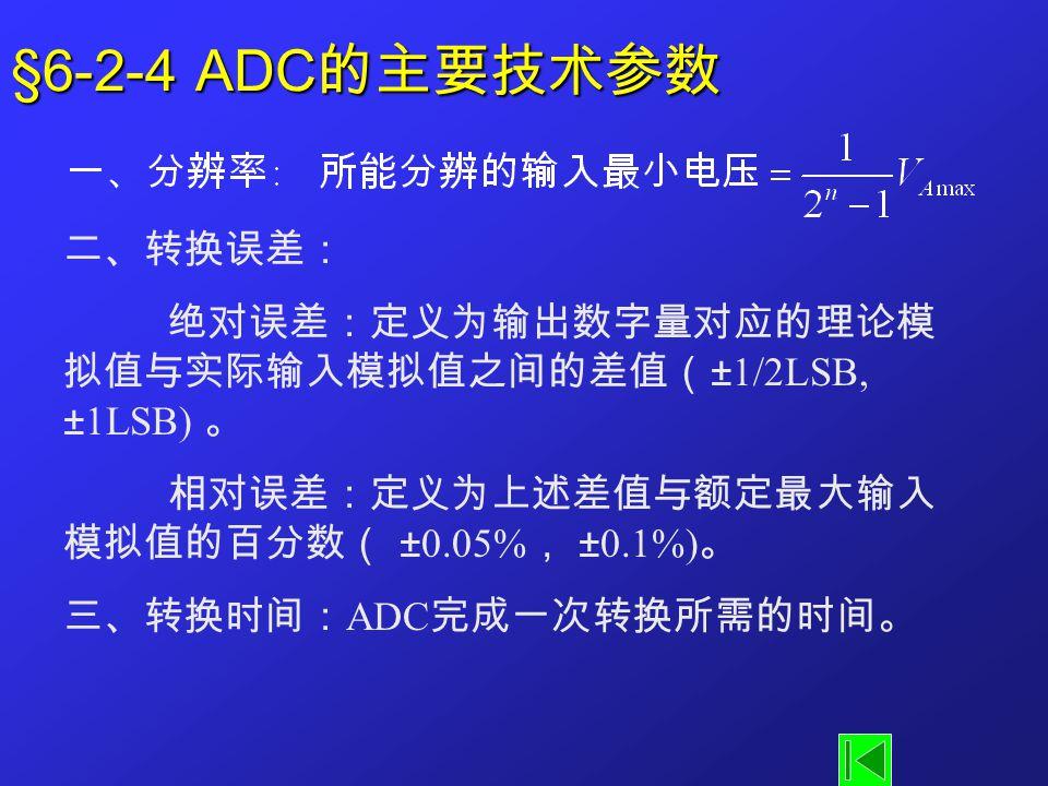 §6-2-4 ADC的主要技术参数 二、转换误差: