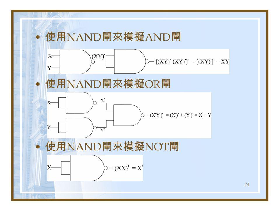 使用NAND閘來模擬AND閘 使用NAND閘來模擬OR閘 使用NAND閘來模擬NOT閘