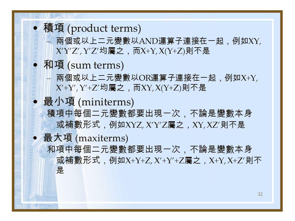 積項 (product terms) 和項 (sum terms) 最小項 (miniterms) 最大項 (maxiterms)