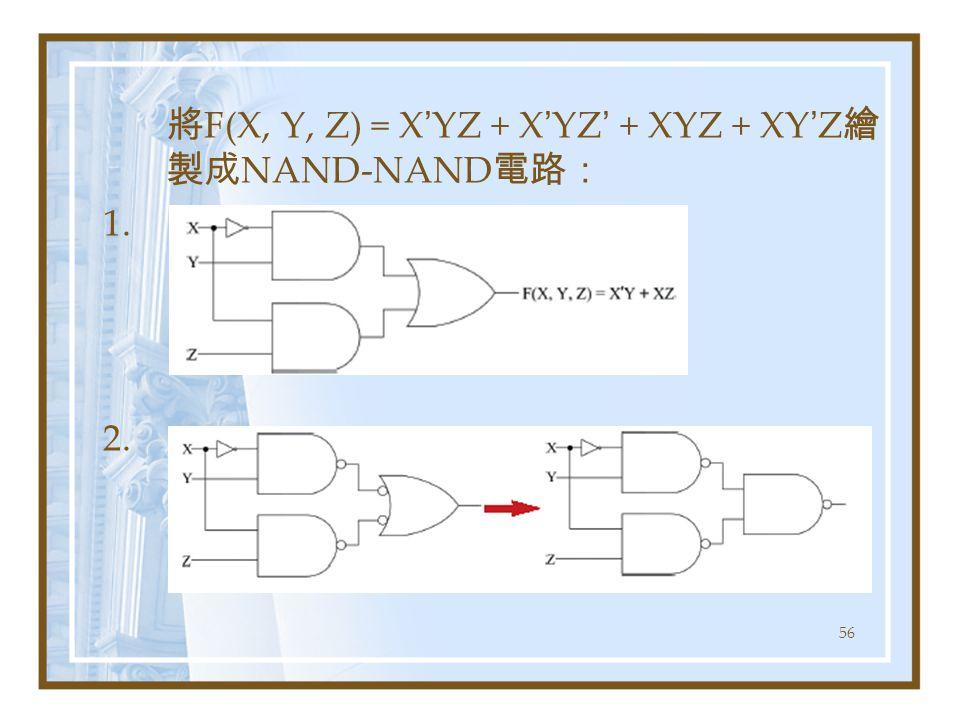 將F(X, Y, Z) = X'YZ + X'YZ' + XYZ + XY'Z繪製成NAND-NAND電路: