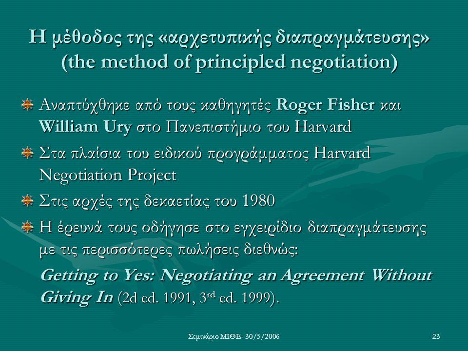 Η μέθοδος της «αρχετυπικής διαπραγμάτευσης» (the method of principled negotiation)