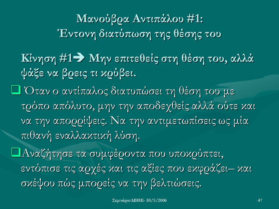 Μανούβρα Αντιπάλου #1: Έντονη διατύπωση της θέσης του