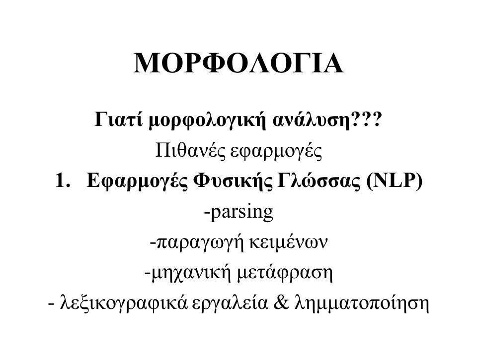 Γιατί μορφολογική ανάλυση Εφαρμογές Φυσικής Γλώσσας (NLP)