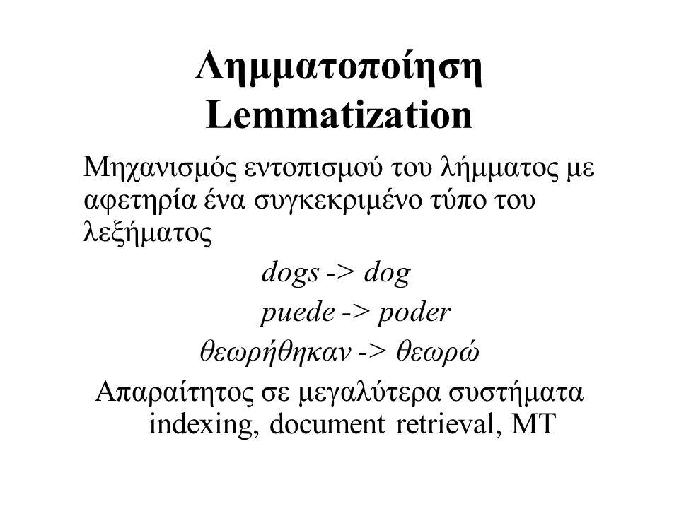 Λημματοποίηση Lemmatization