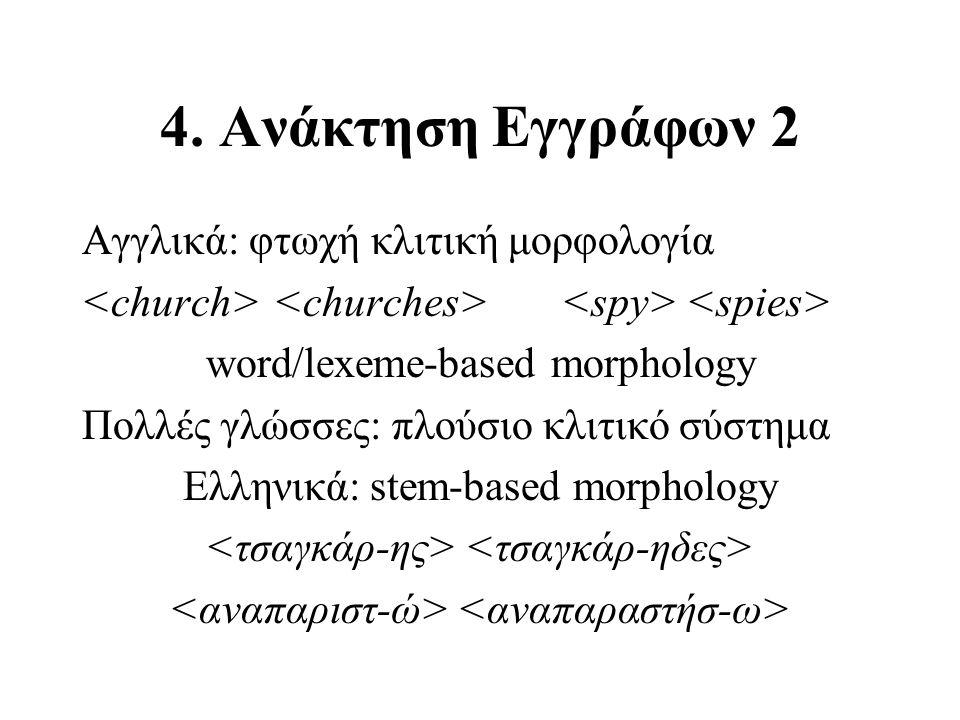 4. Ανάκτηση Εγγράφων 2 Αγγλικά: φτωχή κλιτική μορφολογία