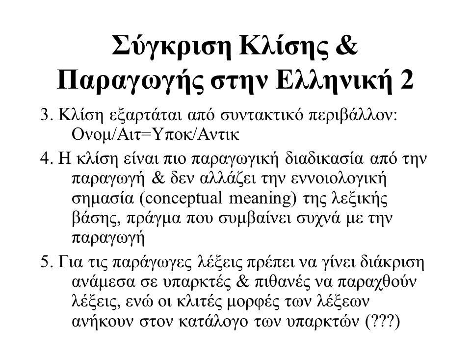 Σύγκριση Κλίσης & Παραγωγής στην Ελληνική 2