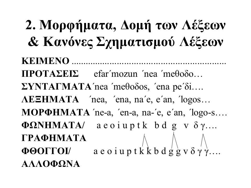 2. Μορφήματα, Δομή των Λέξεων & Κανόνες Σχηματισμού Λέξεων