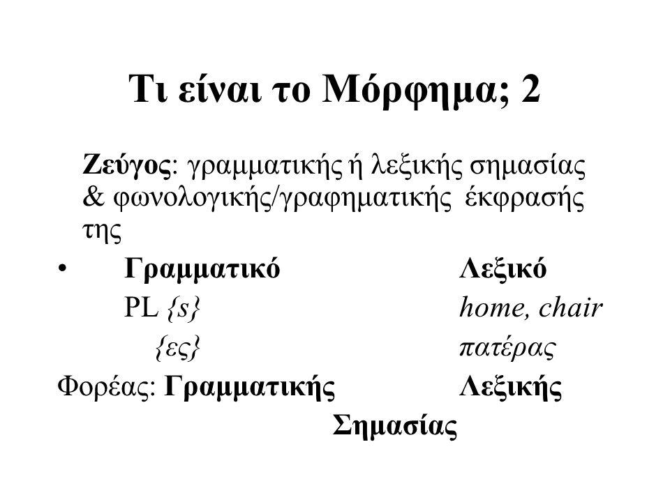 Τι είναι το Μόρφημα; 2 Ζεύγος: γραμματικής ή λεξικής σημασίας & φωνολογικής/γραφηματικής έκφρασής της.