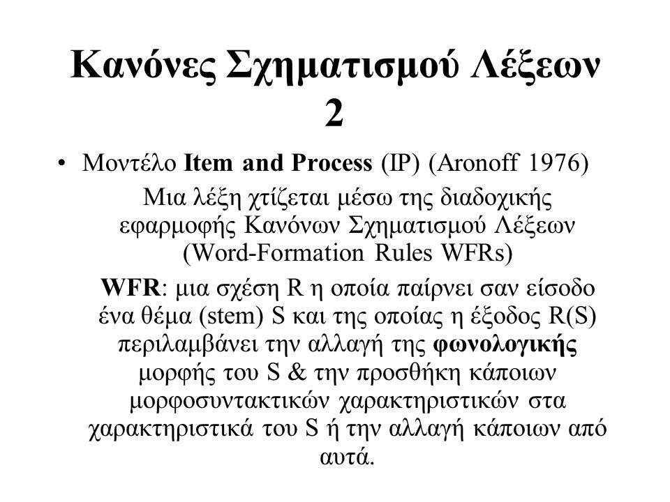 Κανόνες Σχηματισμού Λέξεων 2