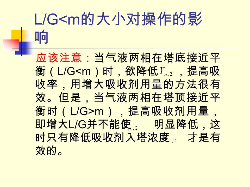 L/G<m的大小对操作的影响 应该注意:当气液两相在塔底接近平衡(L/G<m)时,欲降低 ,提高吸收率,用增大吸收剂用量的方法很有效。但是,当气液两相在塔顶接近平衡时(L/G>m),提高吸收剂用量,即增大L/G并不能使 明显降低,这时只有降低吸收剂入塔浓度 才是有效的。