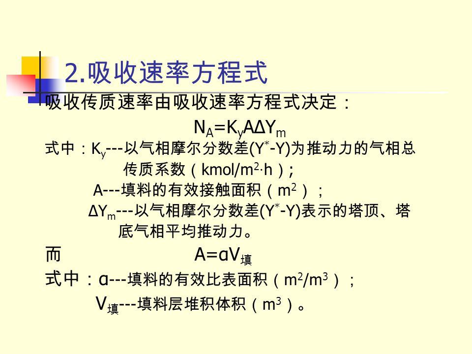 2.吸收速率方程式 吸收传质速率由吸收速率方程式决定: NA=KyAΔYm 而 A=αV填 式中:α---填料的有效比表面积(m2/m3);