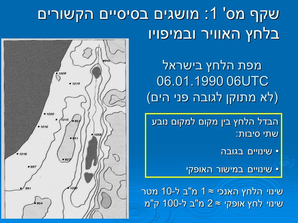 מפת הלחץ בישראל 06.01.1990 06UTC (לא מתוקן לגובה פני הים)