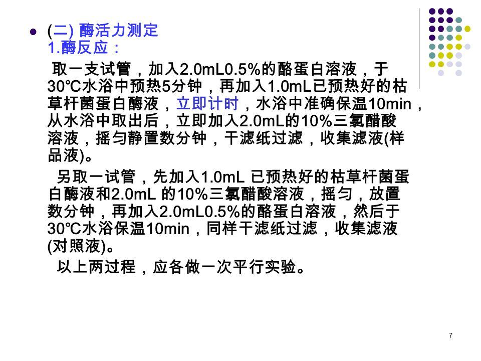 (二) 酶活力测定 1.酶反应: 取一支试管,加入2.0mL0.5%的酪蛋白溶液,于30℃水浴中预热5分钟,再加入1.0mL已预热好的枯草杆菌蛋白酶液,立即计时,水浴中准确保温10min,从水浴中取出后,立即加入2.0mL的10%三氯醋酸溶液,摇匀静置数分钟,干滤纸过滤,收集滤液(样品液)。