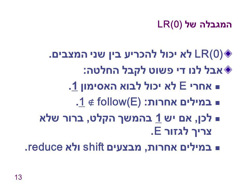 LR(0) לא יכול להכריע בין שני המצבים. אבל לנו די פשוט לקבל החלטה:
