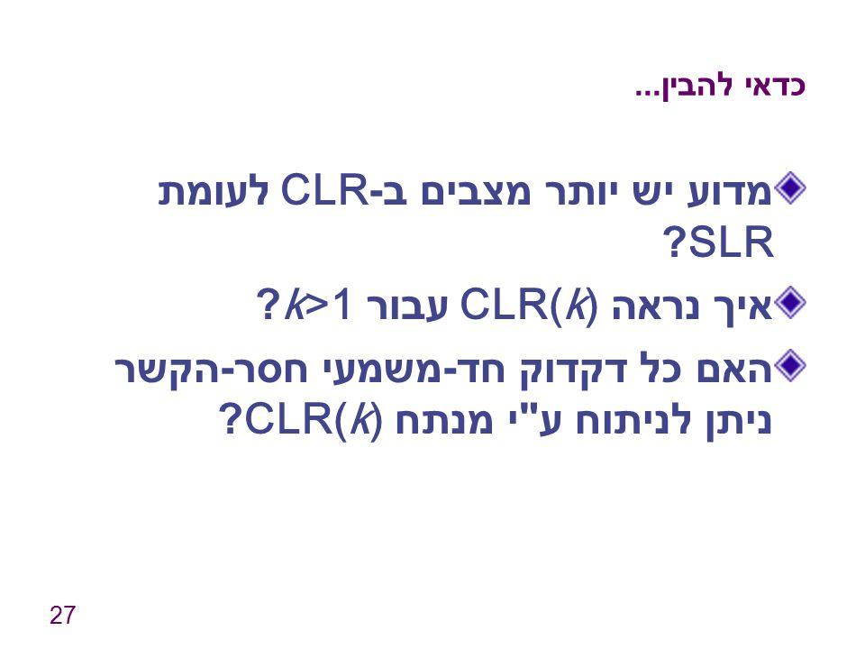 מדוע יש יותר מצבים ב-CLR לעומת SLR איך נראה CLR(k) עבור k>1