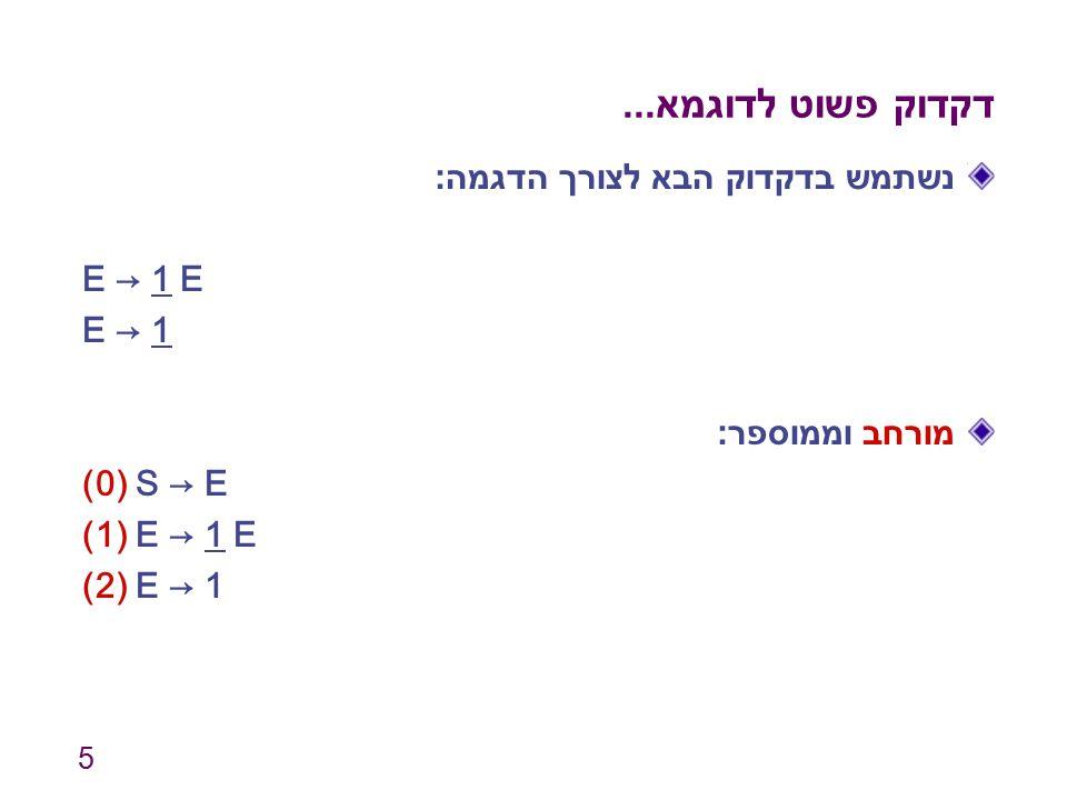 דקדוק פשוט לדוגמא... נשתמש בדקדוק הבא לצורך הדגמה: E → 1 E E → 1