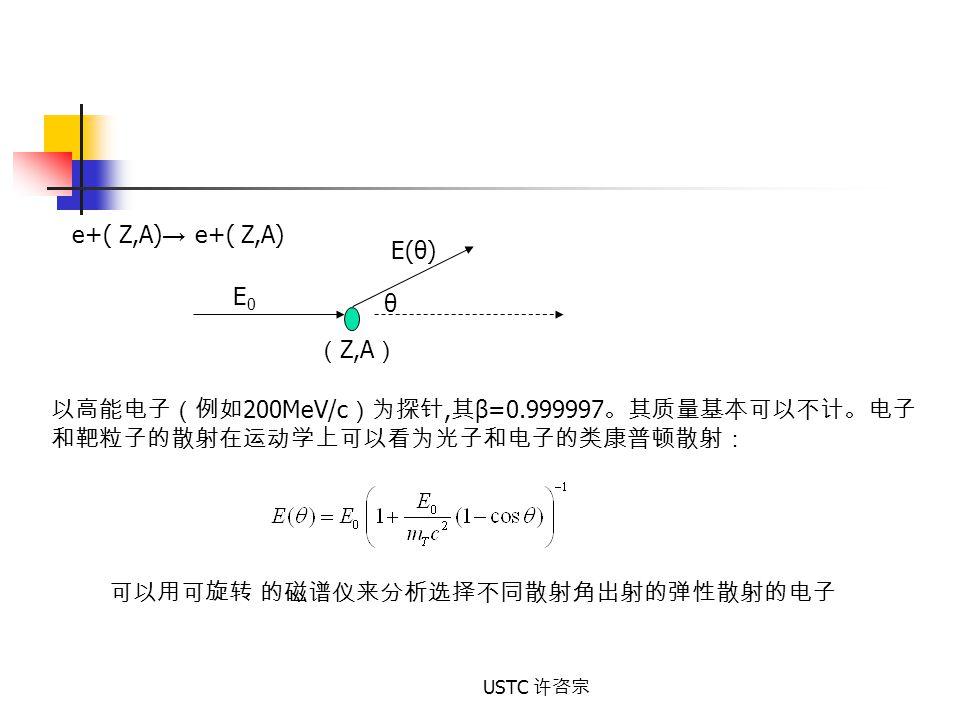 以高能电子(例如200MeV/c)为探针,其β=0.999997。其质量基本可以不计。电子
