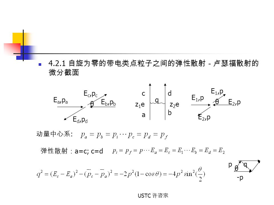 4.2.1 自旋为零的带电类点粒子之间的弹性散射-卢瑟福散射的微分截面
