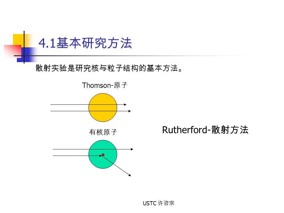 4.1基本研究方法 散射实验是研究核与粒子结构的基本方法。 Thomson-原子 Rutherford-散射方法 有核原子 USTC 许咨宗