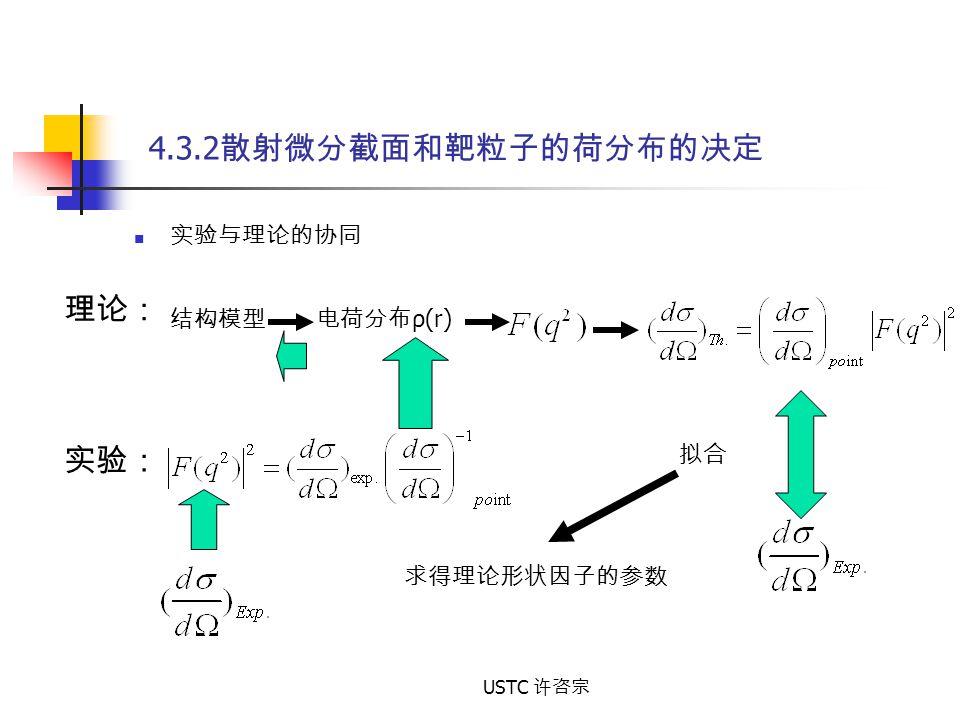 4.3.2散射微分截面和靶粒子的荷分布的决定 理论: 实验: 实验与理论的协同 结构模型 电荷分布ρ(r) 拟合 求得理论形状因子的参数