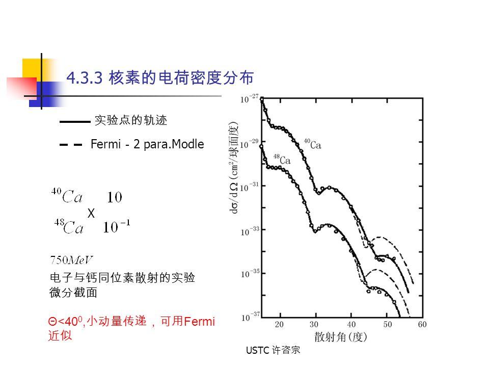 4.3.3 核素的电荷密度分布 实验点的轨迹 Fermi-2 para.Modle X 电子与钙同位素散射的实验 微分截面