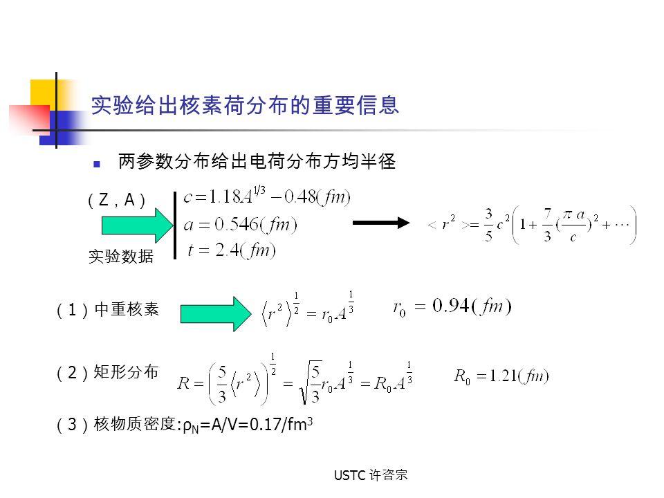 实验给出核素荷分布的重要信息 两参数分布给出电荷分布方均半径 (Z,A) 实验数据 (1)中重核素 (2)矩形分布