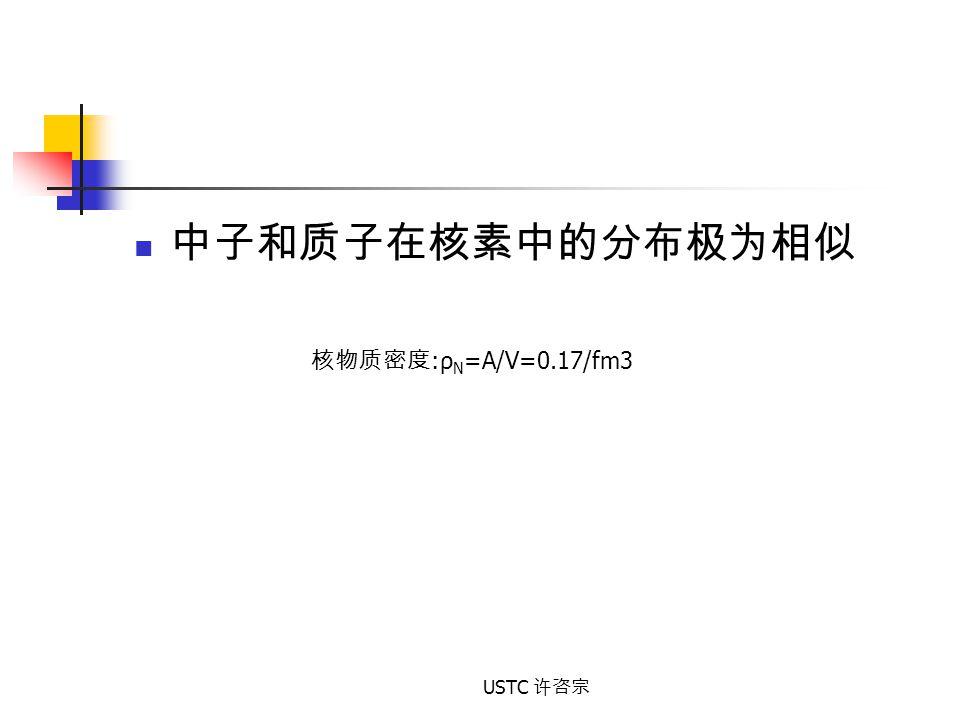 中子和质子在核素中的分布极为相似 核物质密度:ρN=A/V=0.17/fm3 USTC 许咨宗