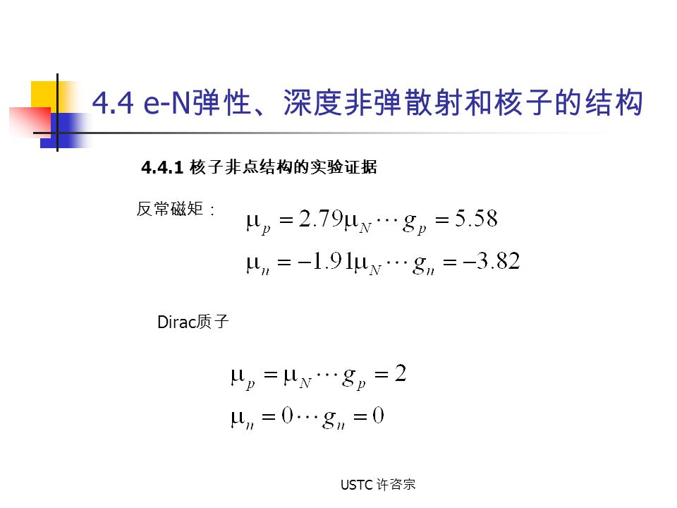 4.4 e-N弹性、深度非弹散射和核子的结构 4.4.1 核子非点结构的实验证据 反常磁矩: Dirac质子 USTC 许咨宗