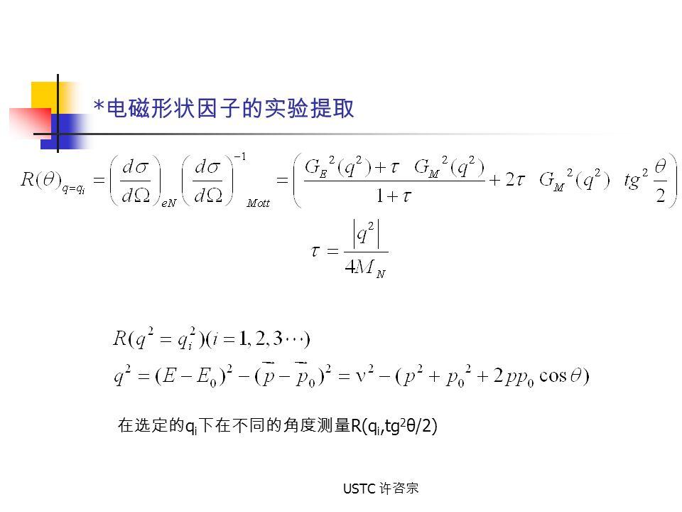 *电磁形状因子的实验提取 在选定的qi下在不同的角度测量R(qi,tg2θ/2) USTC 许咨宗