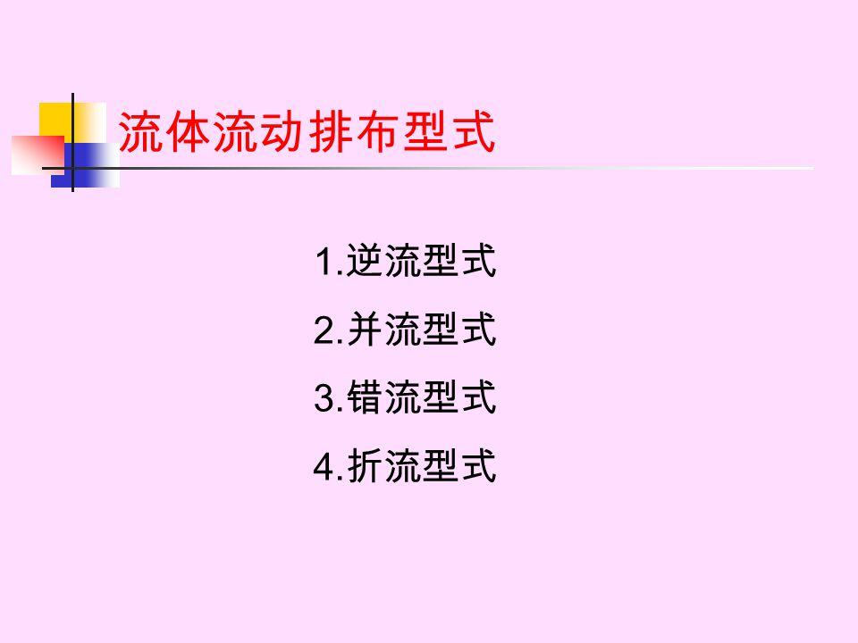 流体流动排布型式 1.逆流型式 2.并流型式 3.错流型式 4.折流型式