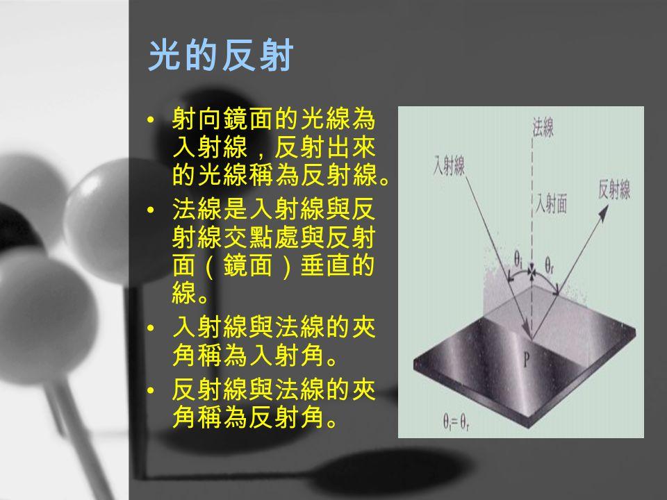 光的反射 射向鏡面的光線為入射線,反射出來的光線稱為反射線。 法線是入射線與反射線交點處與反射面(鏡面)垂直的線。