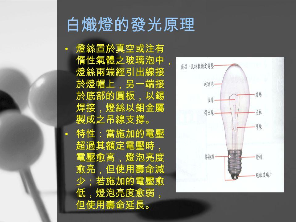 白熾燈的發光原理 燈絲置於真空或注有惰性氣體之玻璃泡中,燈絲兩端經引出線接於燈帽上,另一端接於底部的圓板,以錫焊接,燈絲以鉬金屬製成之吊線支撐。 特性:當施加的電壓超過其額定電壓時,電壓愈高,燈泡亮度愈亮,但使用壽命減少;若施加的電壓愈低,燈泡亮度愈弱,但使用壽命延長。