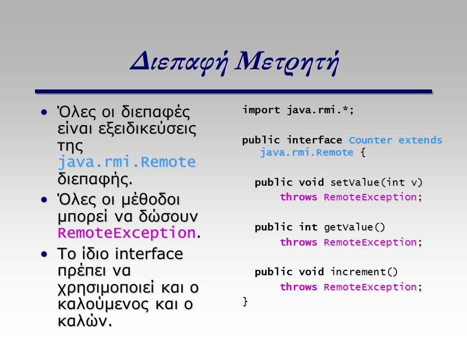 Διεπαφή Μετρητή Όλες οι διεπαφές είναι εξειδικεύσεις της java.rmi.Remote διεπαφής. Όλες οι μέθοδοι μπορεί να δώσουν RemoteException.
