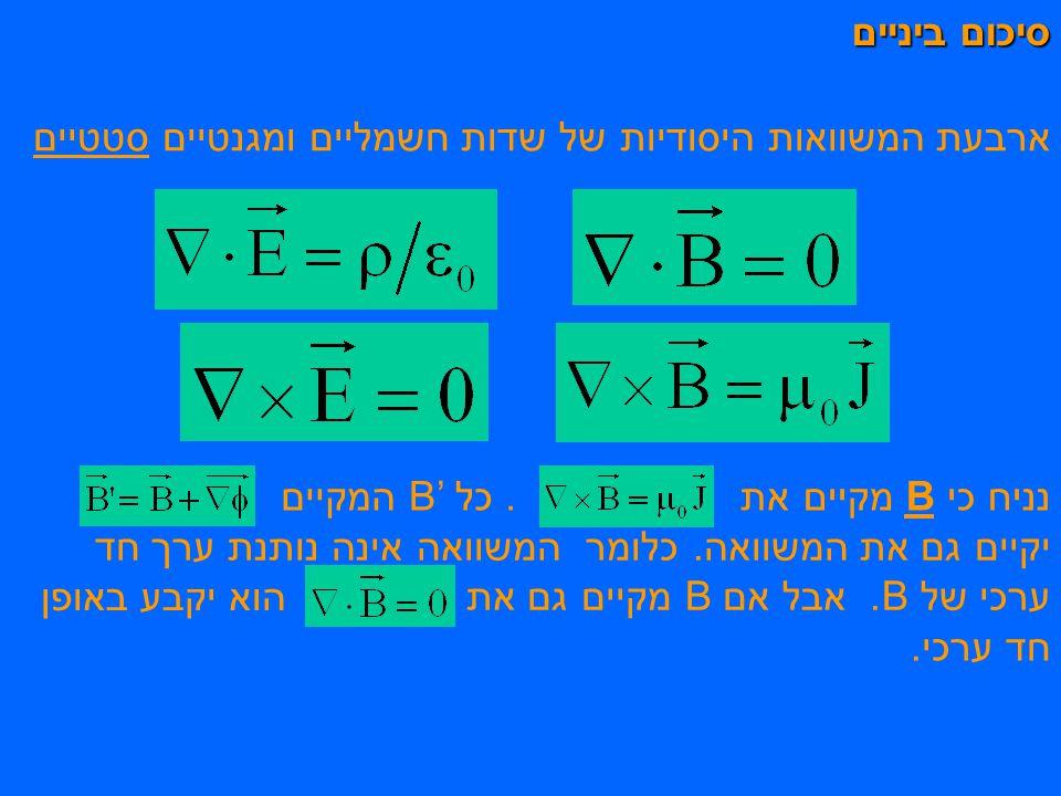 סיכום ביניים ארבעת המשוואות היסודיות של שדות חשמליים ומגנטיים סטטיים. . כל B' המקיים. נניח כי B מקיים את.