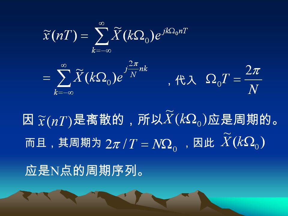 ,代入 因 是离散的,所以 应是周期的。 而且,其周期为 ,因此 应是N点的周期序列。