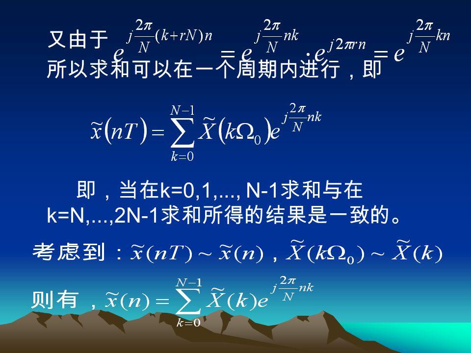 又由于 所以求和可以在一个周期内进行,即 即,当在k=0,1,..., N-1求和与在k=N,...,2N-1求和所得的结果是一致的。