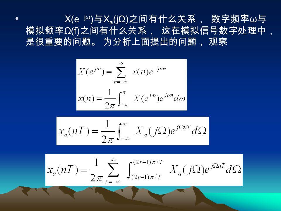 X(e jω)与Xa(jΩ)之间有什么关系, 数字频率ω与模拟频率Ω(f)之间有什么关系, 这在模拟信号数字处理中, 是很重要的问题。 为分析上面提出的问题, 观察