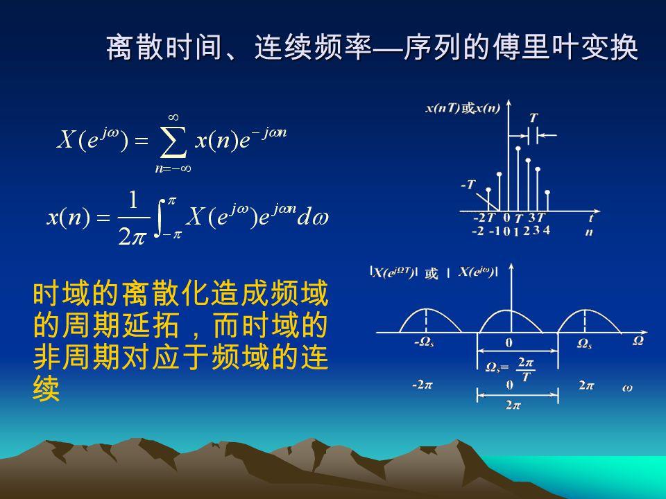 离散时间、连续频率—序列的傅里叶变换 时域的离散化造成频域的周期延拓,而时域的非周期对应于频域的连续