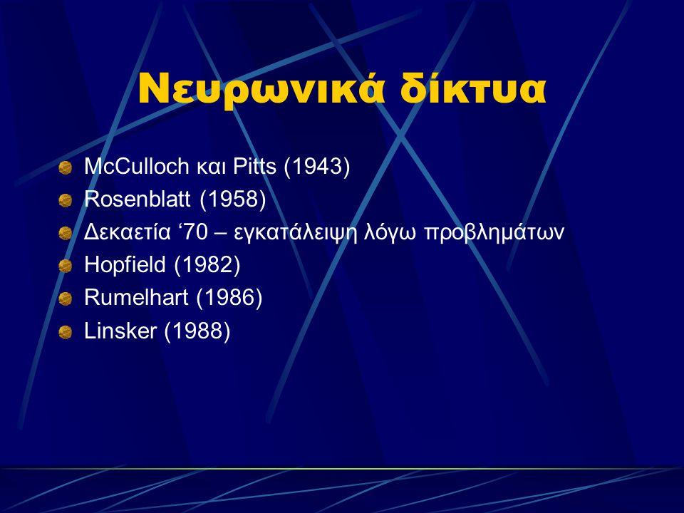 Νευρωνικά δίκτυα McCulloch και Pitts (1943) Rosenblatt (1958)