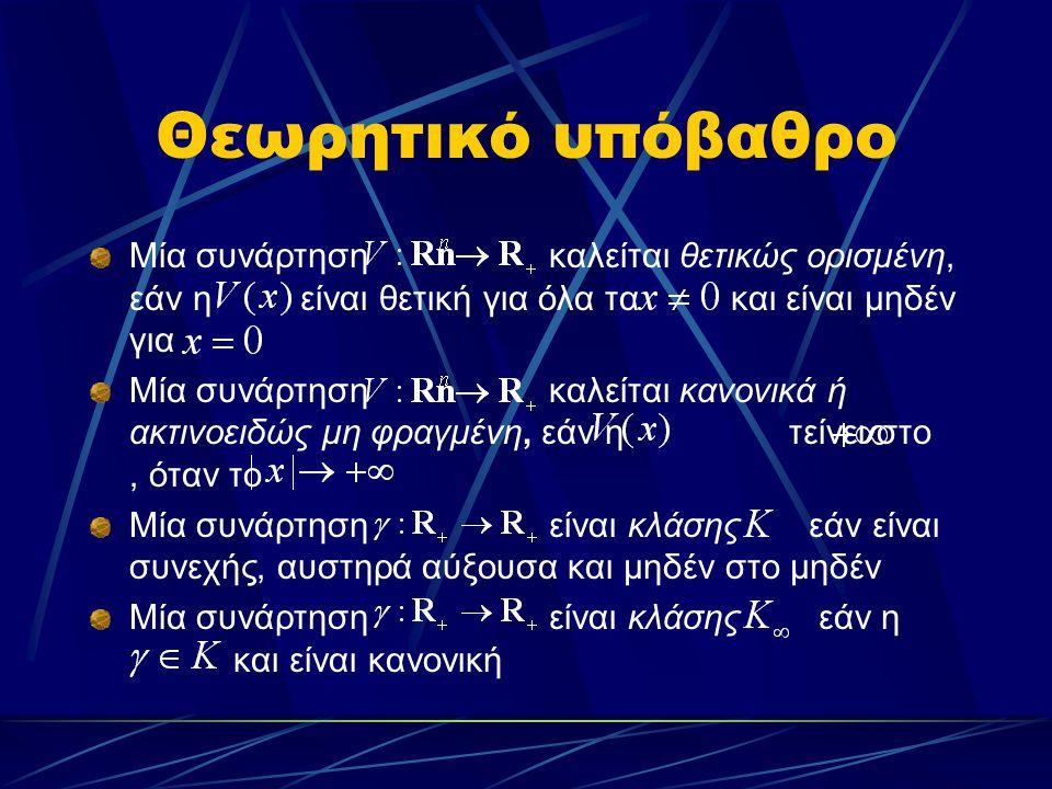 Θεωρητικό υπόβαθρο Μία συνάρτηση καλείται θετικώς ορισμένη, εάν η είναι θετική για όλα τα και είναι μηδέν για.