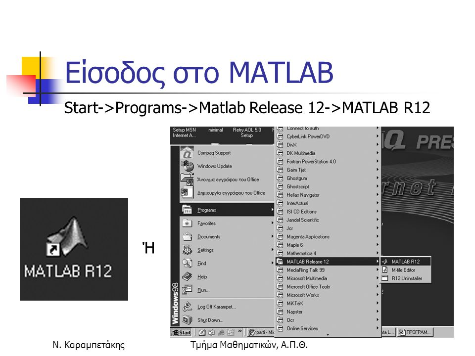 Είσοδος στο ΜATLAB Start->Programs->Matlab Release 12->MATLAB R12.