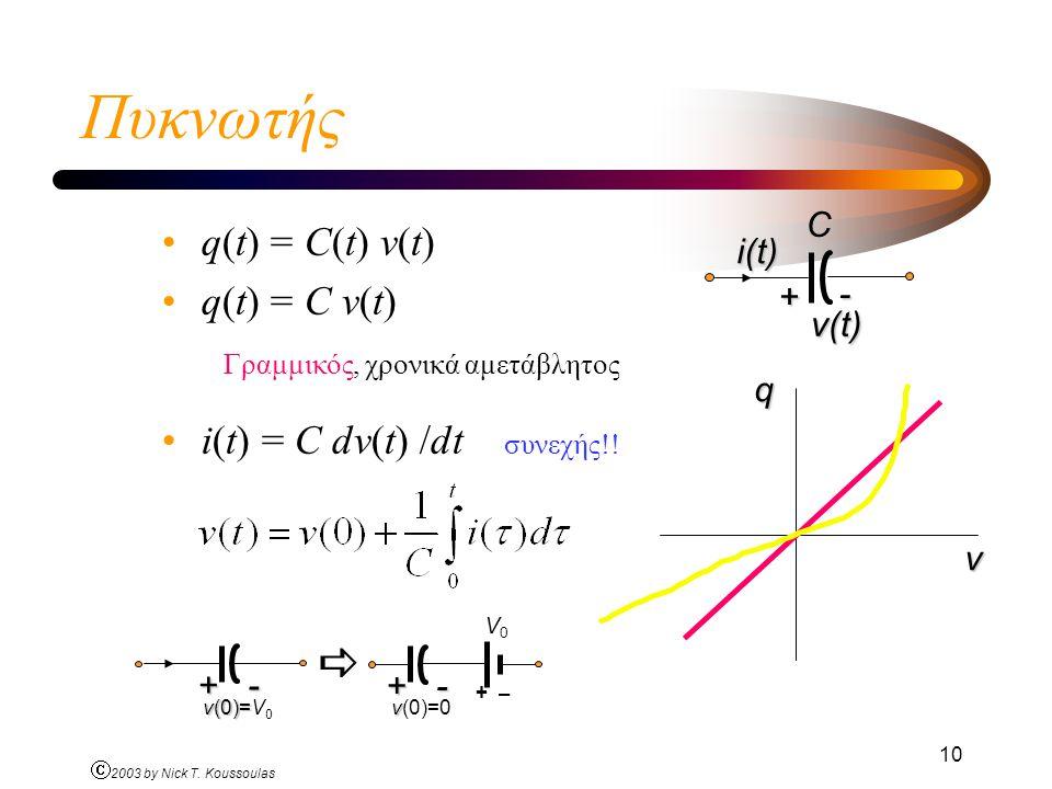 Πυκνωτής  q(t) = C(t) v(t) q(t) = C v(t)