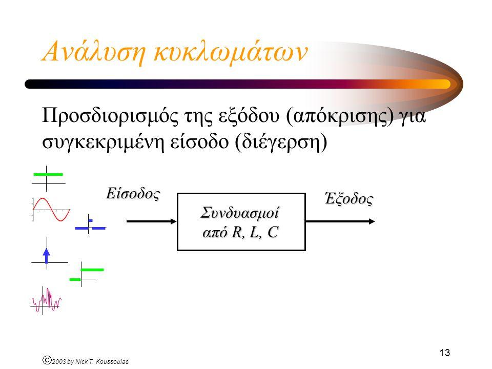 Ανάλυση κυκλωμάτων Προσδιορισμός της εξόδου (απόκρισης) για συγκεκριμένη είσοδο (διέγερση) Είσοδος.